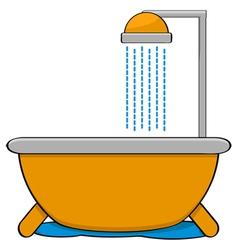 Bathtub with shower vector