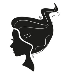 Beautiful black hair silhouette isolated on white vector image vector image
