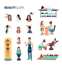 Beauty salon spa set vector