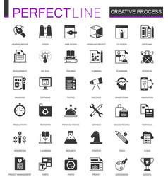 Black classic creative process web icons set vector