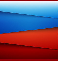 Blue and red paper layers abstract background vector image vector image