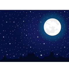 Bright moon and stars during night vector image