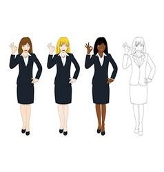 Business woman showing ok hand sign vector