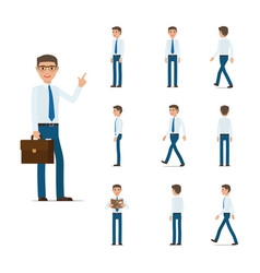 businessman character collection moving steps vector image