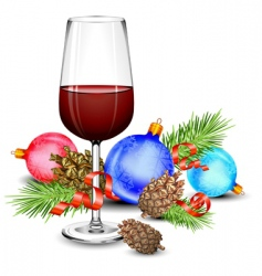 Christmas wine glass vector image