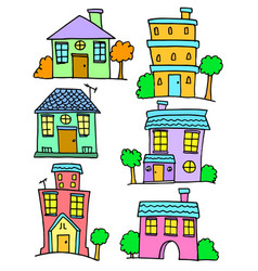 Collection of house set doodles vector