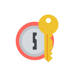Door lock with key icon vector