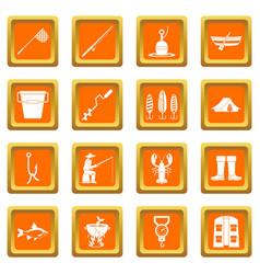 Fishing tools icons set orange vector