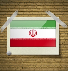Flags iran at frame on a brick background vector