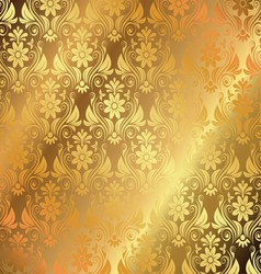 Golden Background With Floral Ornaments vector image
