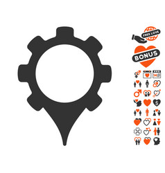 Gps settings icon with valentine bonus vector