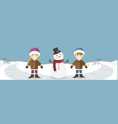 happy children with snowman banner vector image