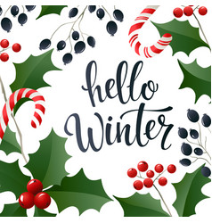 hello winter lettering banner for web or social vector image vector image