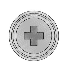 Isolated cross inside button design vector