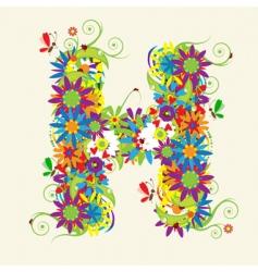 letter H floral design vector image vector image
