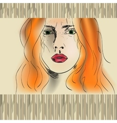 Orange haired girl vector
