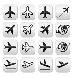 Plane flight airport icons set vector image vector image