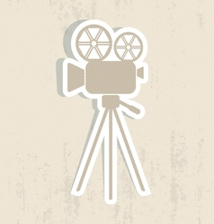 Retro movie camera icon vector image