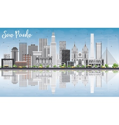 Sao paulo skyline with gray buildings blue sky vector