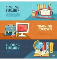 School education online courses banners set vector