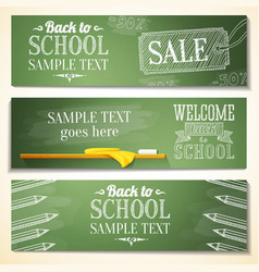 Set of school banners with sample text place for vector
