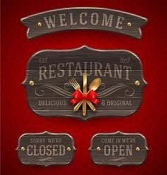 Set of vintage wooden Restaurant signs vector image