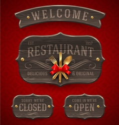 Set of vintage wooden Restaurant signs vector image vector image