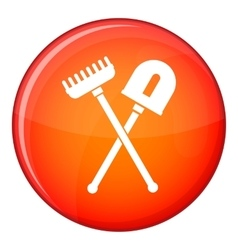 Shovel and rake icon flat style vector