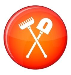 Shovel and rake icon flat style vector