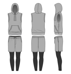 Sleeveless hoody shorts and jogging pants vector