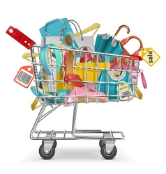 Trolley with purchase vector