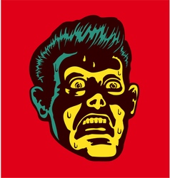Vintage scared man with terrified face vector