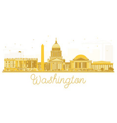 washington dc usa city skyline golden silhouette vector image