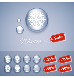 Winter Sale Glossy Buttons Templates vector image