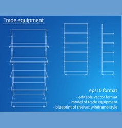 wireframe retail shelves vector image