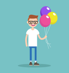 young nerd holding a bunch of colourful balloons vector image vector image