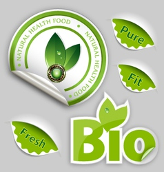 Organic food eco bio labels vector
