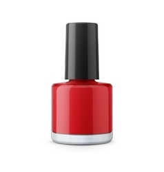 Round red glossy nail polish bottle vector