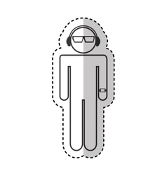 human silhouette with headset isolated icon vector image