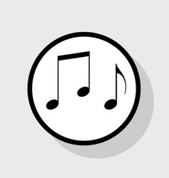 music notes sign  flat black icon in white vector image
