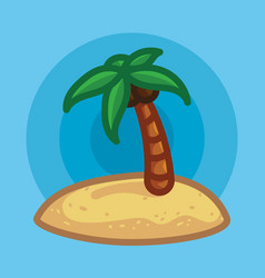 Palm tree on beach in sand vector