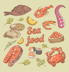 Sea food hand drawn doodle with fish crab vector