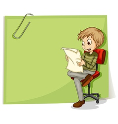 A boy reading in front of a big paper with a clip vector