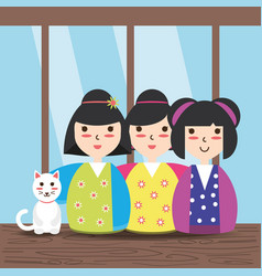 Beauty japanese women with kimono and cat vector