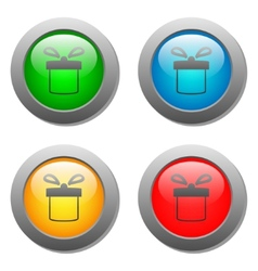Present icon set on glass buttons vector
