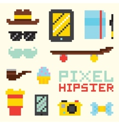 Pixel hipster isolated objects vector image