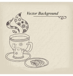 Teacup vintage background vector