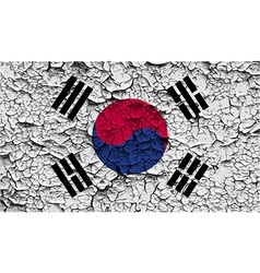 Flag of south korea with old texture vector