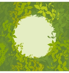 Abstract design with green leaf silhouette card vector