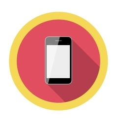 Mobile phone flat icon with long shadow vector